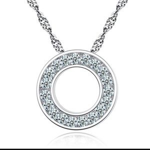 Jewelry - Round Sterling Silver Cubic Zirconia Necklace